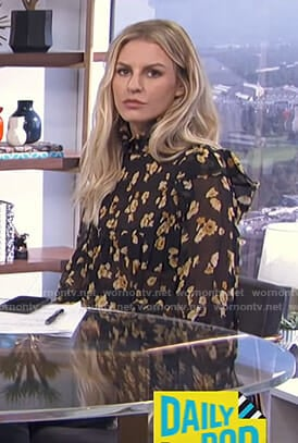 Morgan's black smocked floral blouse on E! News Daily Pop
