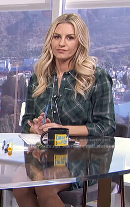 Morgan's green plaid shirtdress on E! News Daily Pop