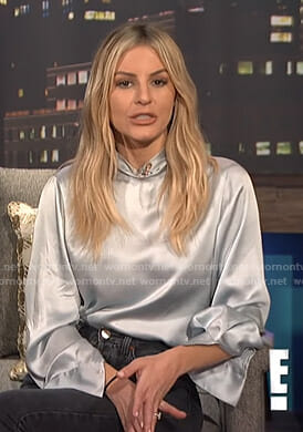 Morgan's satin blouse on E! News Nightly Pop