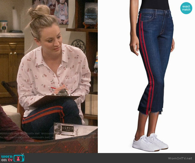 Mother Insider Striped Raw-Edge Jeans worn by Penny Hofstadter (Kaley Cuoco) on The Big Bang Theory