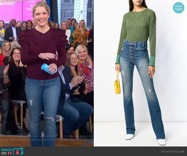 The Patch Pocket Hustler Jeans by Mother worn by Sara Haines  on Good Morning America