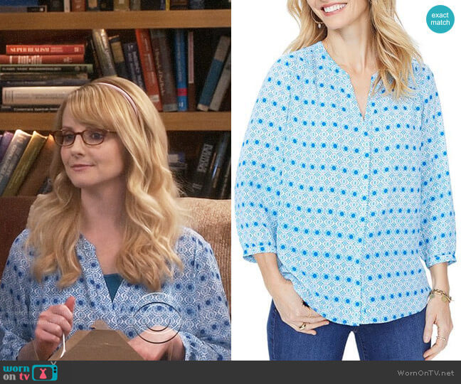 NYDJ Pintuck-Back Blouse worn by Bernadette Rostenkowski (Melissa Rauch) on The Big Bang Theory