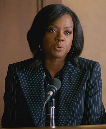 Annalise's navy pinstripe blazer on How to Get Away with Murder