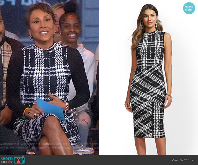 Plaid Mock-Neck Sheath Sweater Dress - 7th Avenue by New York & Company worn by Robin Roberts (Robin Roberts) on Good Morning America