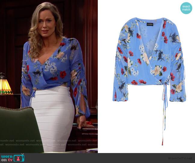 Nicholas Floral Wrap Top worn by Donna Logan (Jennifer Gareis) on The Bold & the Beautiful