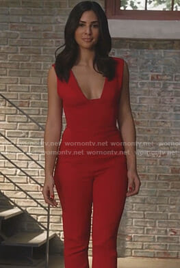 Nina's red plunging jumpsuit on Star