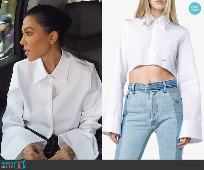 Cropped Button Down Cotton Shirt by Off-White worn by Kourtney Kardashian  on Keeping Up with the Kardashians