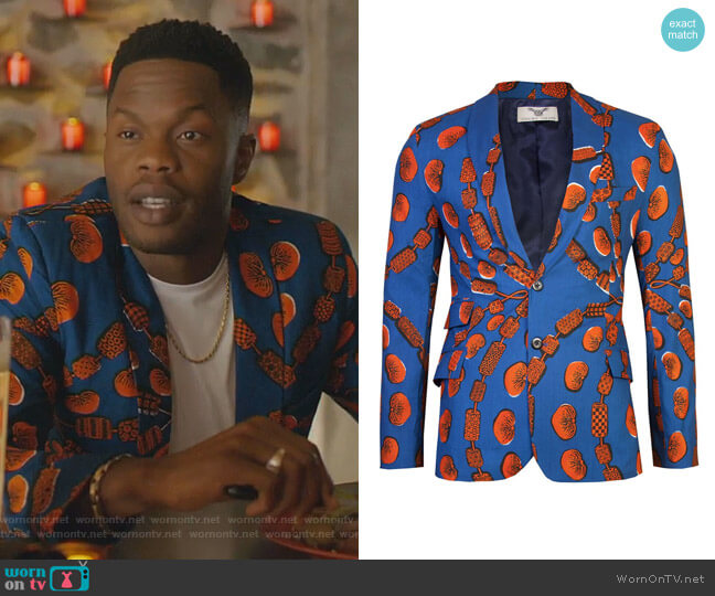 Joshua Blazer-Love Chain by Ohema Ohene worn by Jeff Colby (Sam Adegoke) on Dynasty