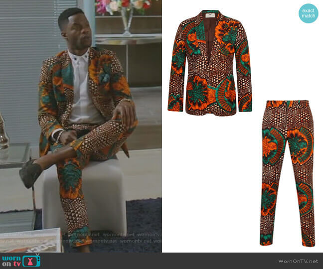 Button African Print Blazer-Joshua Greenleaf and Trousers by Ohema Ohene worn by Sam Adegoke on Dynasty