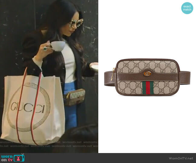 Ophidia GG Supreme Small Canvas Belt Bag by Gucci worn by LeeAnne Locken  on The Real Housewives of Dallas