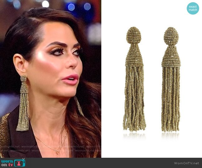 Classic Long Tassel Clip-On Earrings by Oscar de la Renta worn by D'Andra Simmons  on The Real Housewives of Dallas