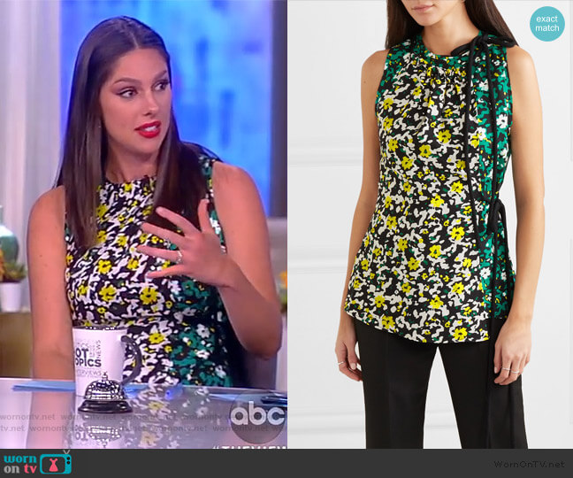 Floral-print crepe top by Proenza Schouler worn by Abby Huntsman  on The View