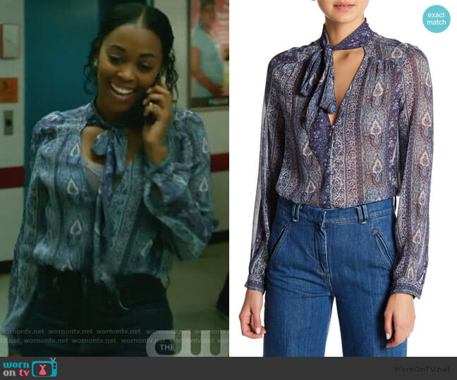 Dion Paisley Silk Necktie Blouse by Paige worn by Anissa Pierce (Nafessa Williams) on Black Lightning