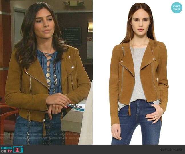 Tiana Suede Jacket by Paige worn by Gabi Hernandez (Camila Banus) on Days of our Lives