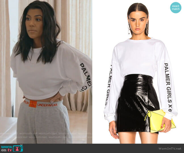 Long Sleeve Crop Tee by Palmer Girls X Miss Sixty worn by Kourtney Kardashian  on Keeping Up with the Kardashians