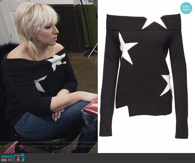Star Off Shoulder Top by Pam and Gela worn by Margaret Josephs  on The Real Housewives of New Jersey