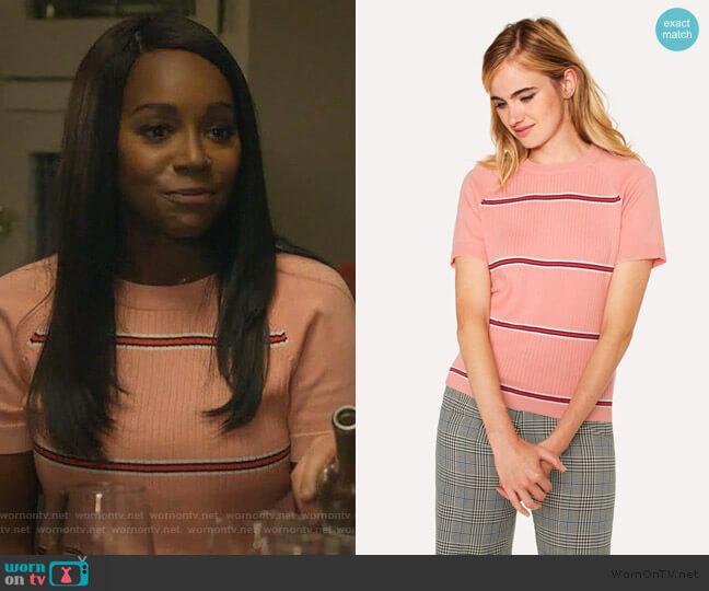 Pink Stripe Cotton Short-Sleeve Sweater by PS Paul Smith worn by Michaela Pratt (Aja Naomi King) on HTGAWM