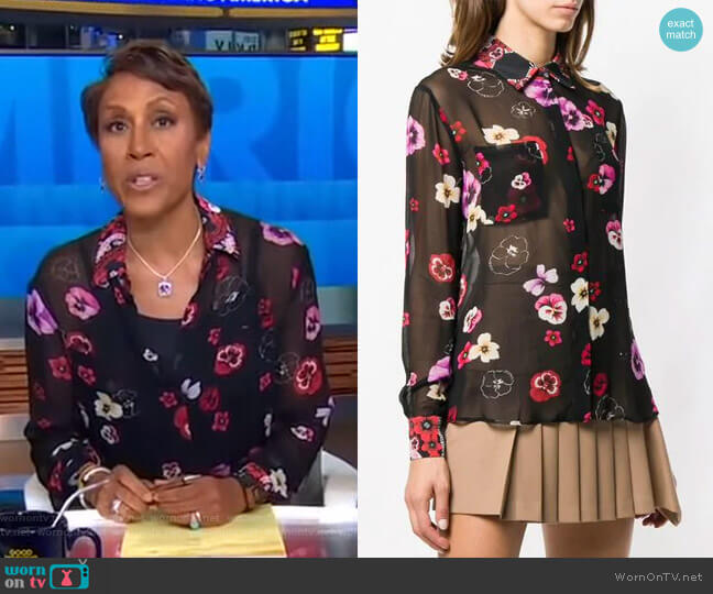 Floral Sheer Fitted Blouse by Pinko worn by Robin Roberts  on Good Morning America