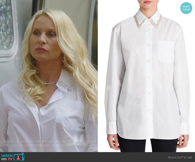 Jewel Collar Shirt by Prada worn by Alexis Carrington (Elaine Hendrix) on Dynasty