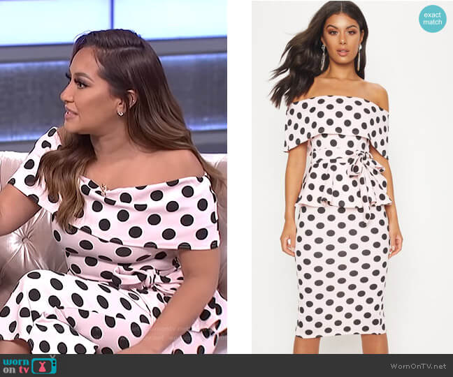 professional sale look out for special for shoe WornOnTV: Adrienne's polka dot off-shoulder dress on The ...