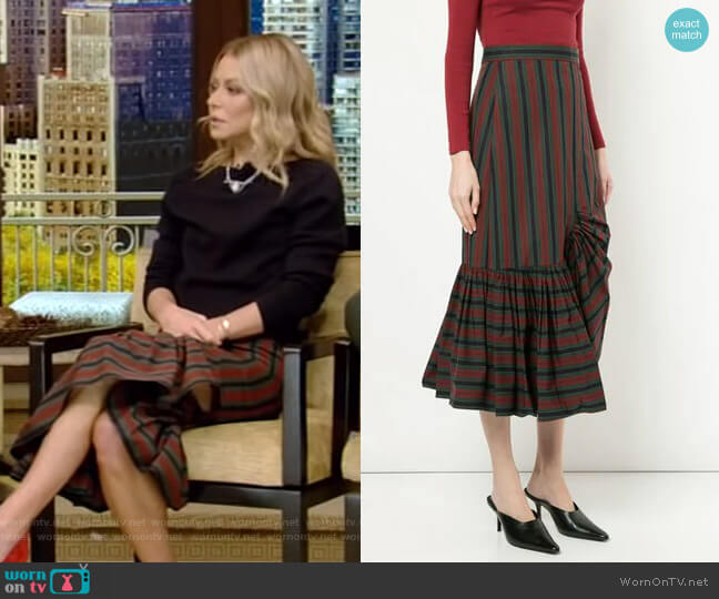 Striped Asymmetric Skirt by Rosetta Getty worn by Kelly Ripa  on Live with Kelly & Ryan