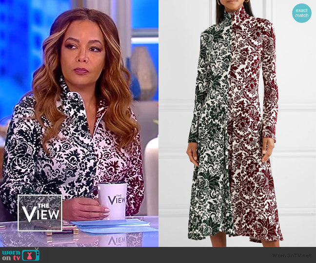 Hans Yolo flocked jersey midi dress by Rosie Assoulin worn by Sunny Hostin (Sunny Hostin) on The View
