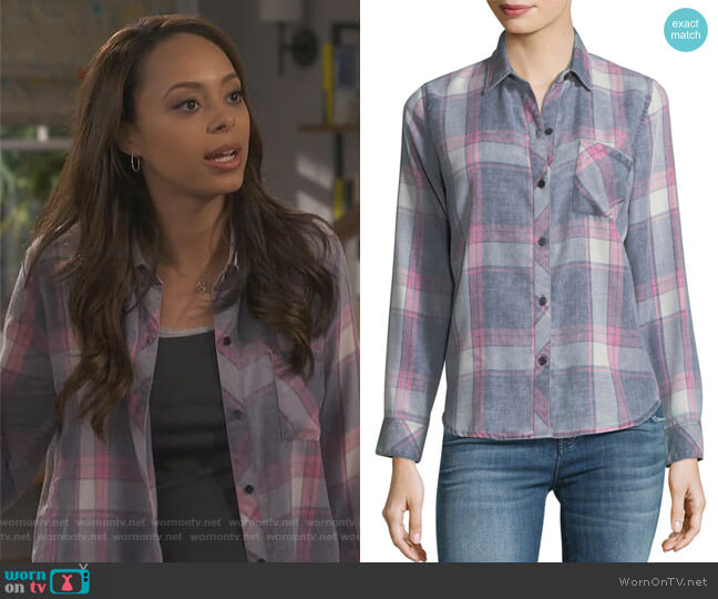 Hunter Shirt in Storm Pink Cloud by Rails worn by Claire (Amber Stevens West) on Happy Together