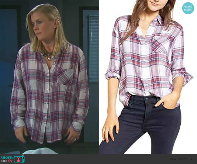Rails Charli Shirt in Raspberry Coast worn by Sami Brady (Alison Sweeney) on Days of our Lives