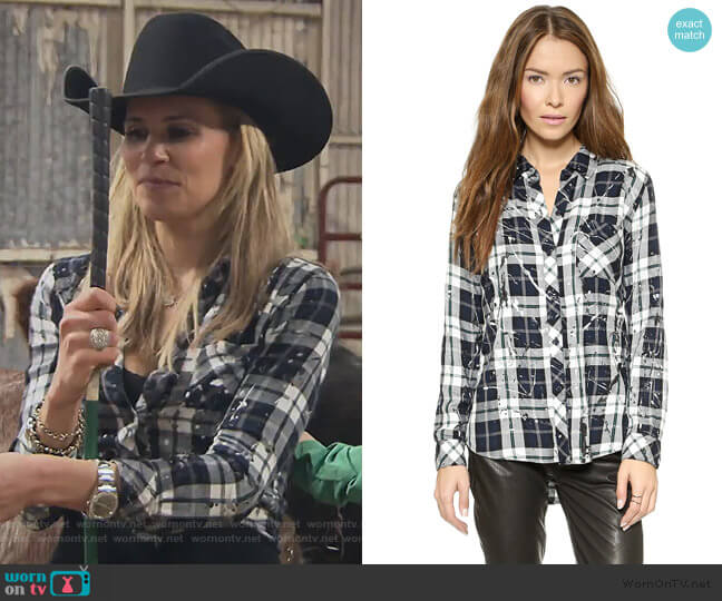 Hunter Splatter Button Down by Rails worn by Jackie Goldschneider  on The Real Housewives of New Jersey
