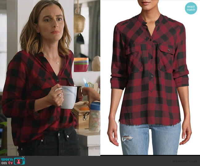 Redding Frayed Plaid Button-Front Shirt by Rails worn by Angie (Leighton Meester) on Single Parents