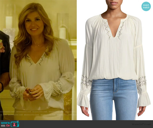 Antonia Embellished Peasant Top by Ramy Brook worn by Debra Newell (Connie Britton) on Dirty John