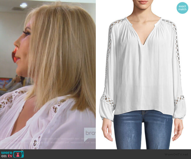Sera V-Neck Long-Sleeve Blouse with Grommet Trim by Ramy Brook worn by Vicki Gunvalson (Vicki Gunvalson) on The Real Housewives of Orange County