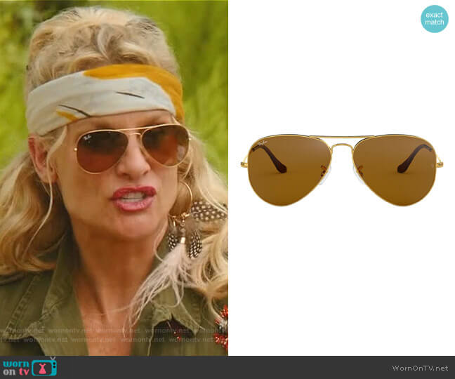 Aviator Sunglasses by Ray-Ban worn by Nicollette Sheridan on Dynasty