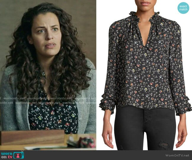 Long-Sleeve Vine-Print Top by Rebecca Taylor worn by Grace Stone (Athena Karkanis) on Manifest