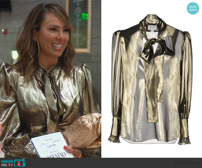 Metallic Blouse by Redemption worn by Kelly Dodd  on The Real Housewives of Orange County