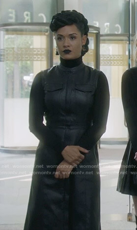 Reeva's black leather shirtdress on The Gifted
