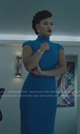 Reeva's blue cap sleeve sheath dress on The Gifted