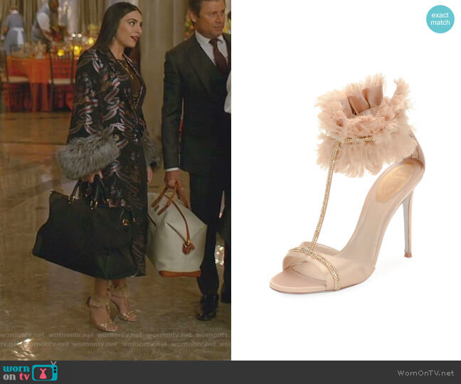 T-Strap Sandal with Ankle Cuff by Rene Caovilla worn by Cristal Jennings (Daniella Alonso) on Dynasty