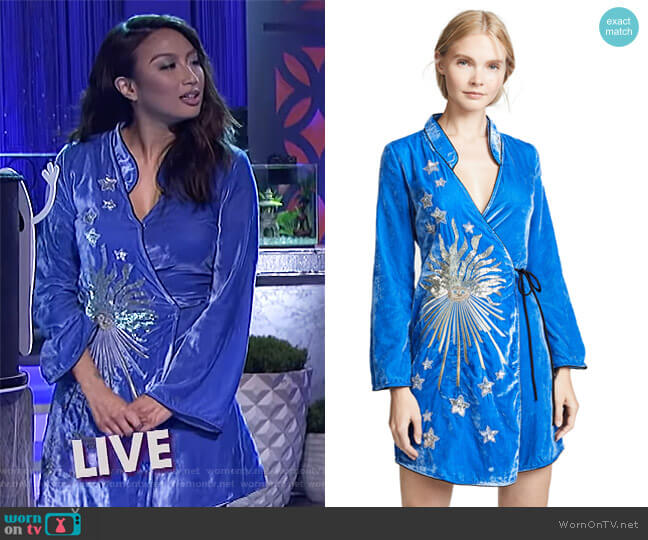 Jeannie's blue velvet dress on The Real