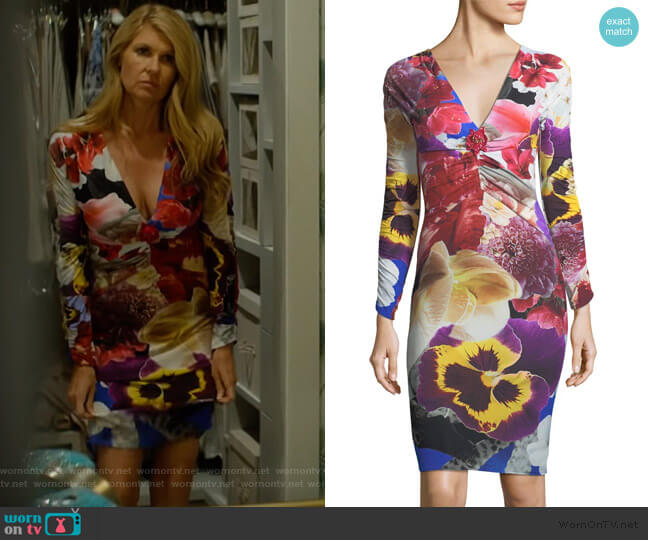V-Neck Long-Sleeve Fitted Floral-Print Dress by Roberto Cavalli worn by Debra Newell (Connie Britton) on Dirty John