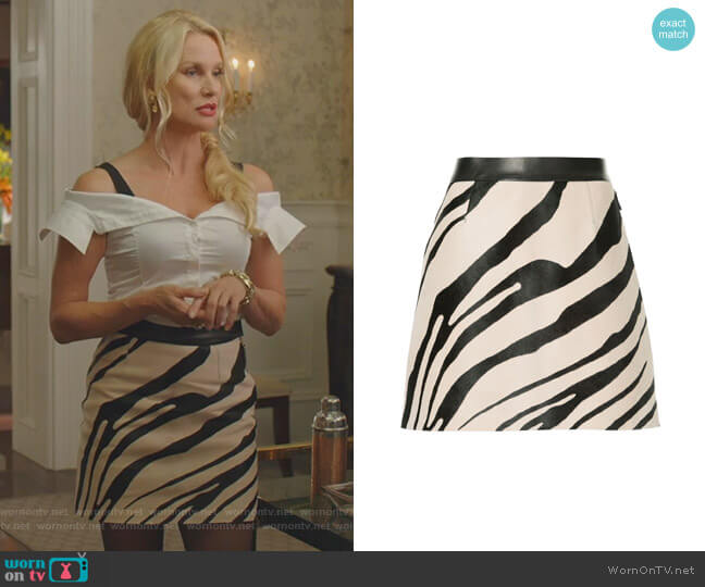 Zebra Print A-line Skirt by Roberto Cavalli worn by Nicollette Sheridan on Dynasty