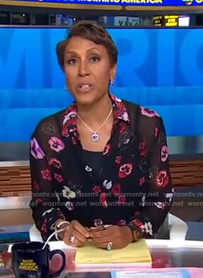 Robin's black floral sheer blouse on Good Morning America