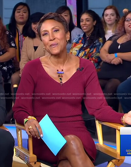 Robin's red ribbed v-neck dress on Good Morning America