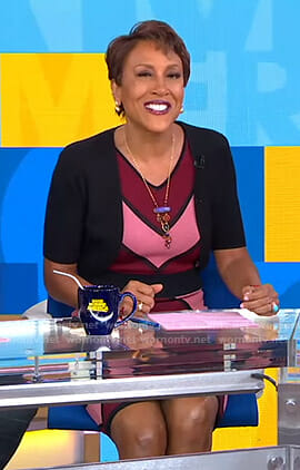Robin's red and pink chevron striped dress on Good Morning America