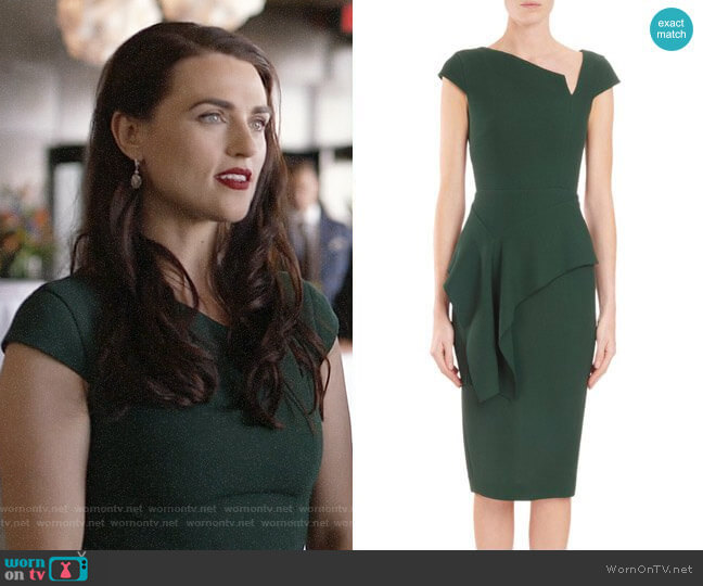 Roland Mouret Asymmetric-Neck Cap-Sleeve Peplum Dress worn by Lena Luthor (Katie McGrath) on Supergirl