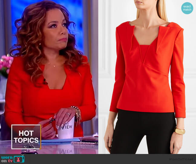 Strand crepe top by Roland Mouret worn by Sunny Hostin  on The View