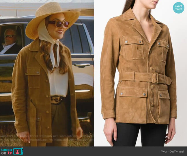 Belted Safari Jacket by Saint Laurent worn by Fallon Carrington (Elizabeth Gillies) on Dynasty