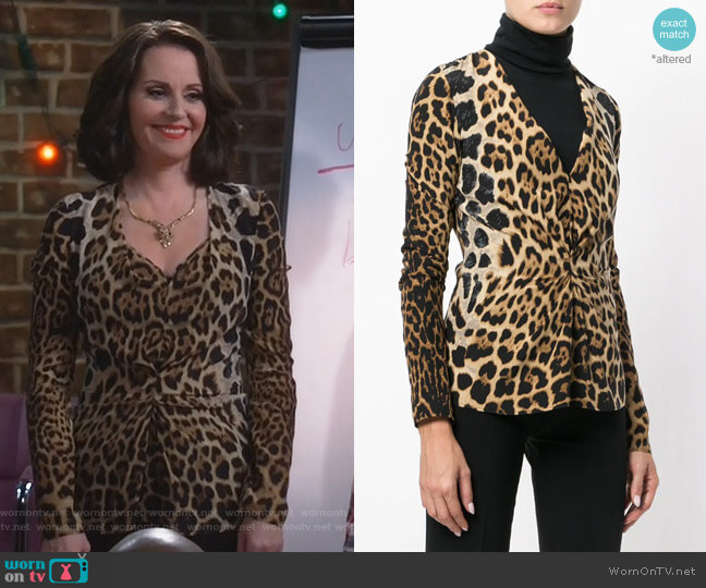 Leopard Print Gathered Blouse by Saint Laurent worn by Megan Mullally on Will & Grace