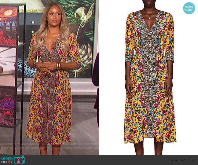 Eve Leopard-Floral V-Neck Midi-Dress by Saloni worn by Eve  on The Talk