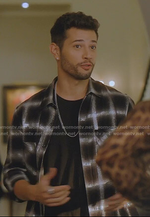 Sam's black grid checked shirt on Dynasty